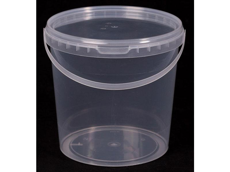 Ведро прозрачное (V-1,2 л), крышка прозрачная (D-130) - магазин Вес-Пак весы пакеты опт и розница