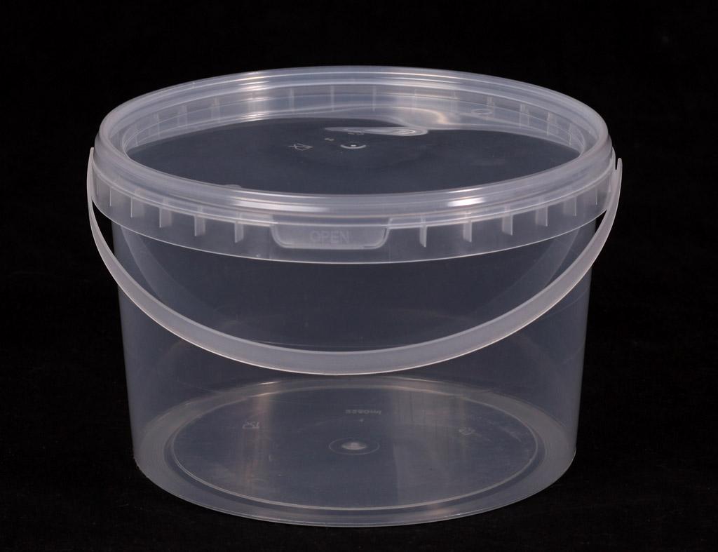 Ведро прозрачное (V-800 мл), крышка прозрачная (D-130)