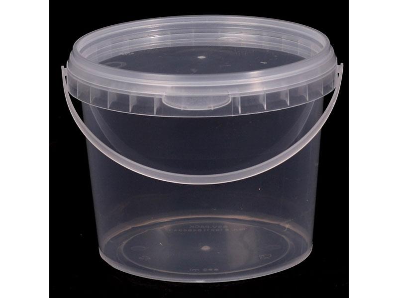 Ведро прозрачное (V-850 мл), крышка прозрачная (D-130)-магазин ВЕС-ПАК опт и розница-